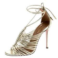 Aquazzura Metallic Gold Leather Strappy Sandals Size 35