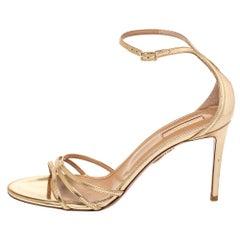 Aquazzura Metallic Gold Leather Very Purist Ankle Strap Sandals Size 40