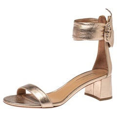 Aquazzura Metallic Peach Leather Casablanca Open Toe Sandals Size 37