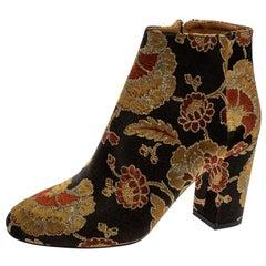 Aquazzura Multicolor Brocade Fabric Ankle Booties Size 37