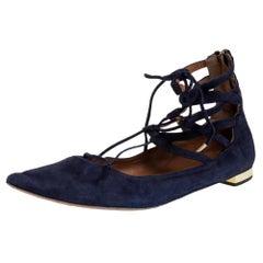 Aquazzura Navy Blue Suede Lace Up Flats Size 41