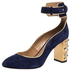 Aquazzura Navy Blue Suede Lucky Star Ankle Strap Pumps Size 36.5