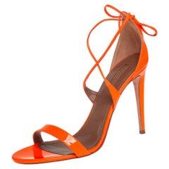 Aquazzura Neon Orange Patent Leather Linda Ankle Wrap Sandals size 41