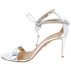 Aquazzura NEW Silver Metallic Crillon 85 Sandals sz 39.5 rt. $1,050