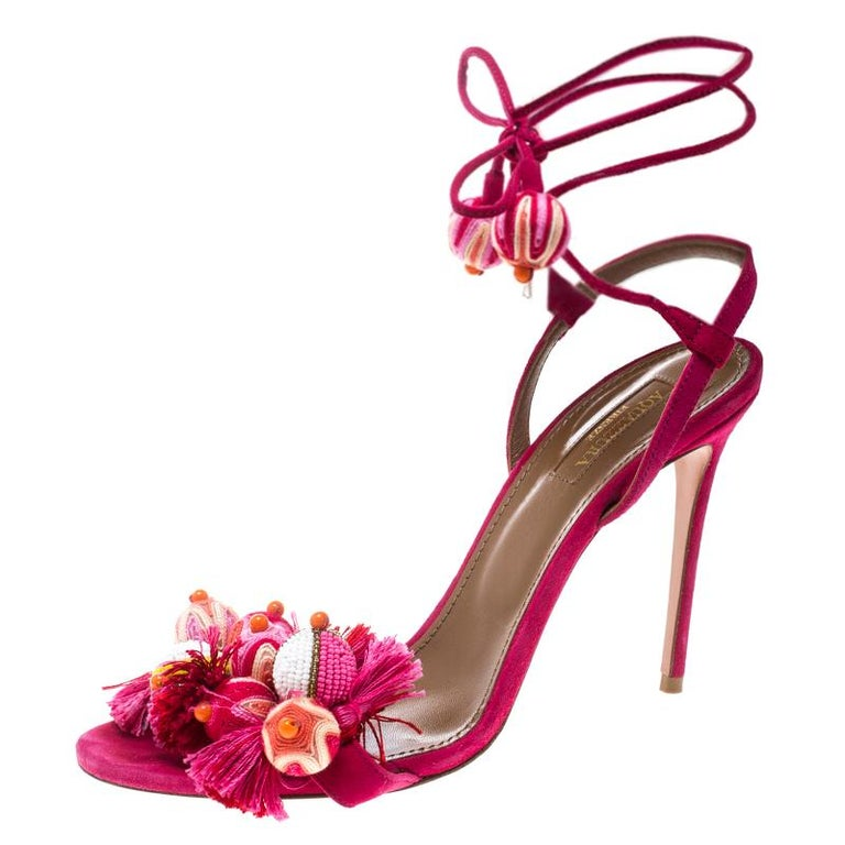 ce540704a0320 Aquazzura Paradise Pink Suede Tropicana Tasseled Beaded Ankle Wrap Sandals  39.5 For Sale at 1stdibs