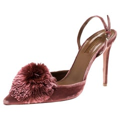 Aquazzura Pink Velvet Powder Puff Pointed Toe Slingback Sandals Size 39