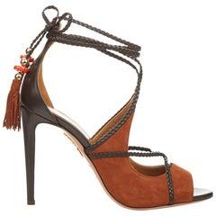 Aquazzura + Poppy Delevingne Hero Suede and Leather Sandals