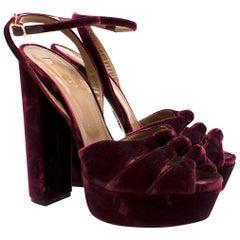Aquazzura Red Mira Velvet Ankle-Strap Platform Sandals Size 41