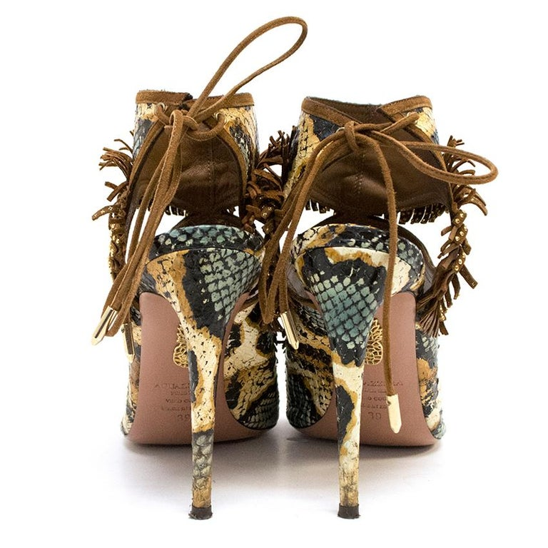 Brown  Aquazzura Snake Print Fringe Peep Toe Shoes IT 39 For Sale
