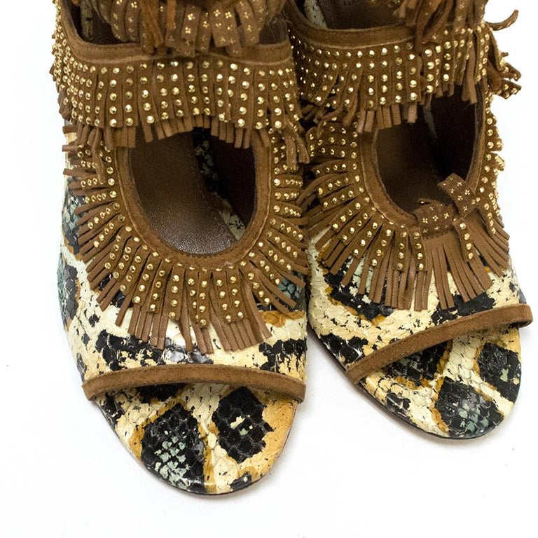 Aquazzura Snake Print Fringe Peep Toe Shoes IT 39 In Excellent Condition For Sale In London, GB