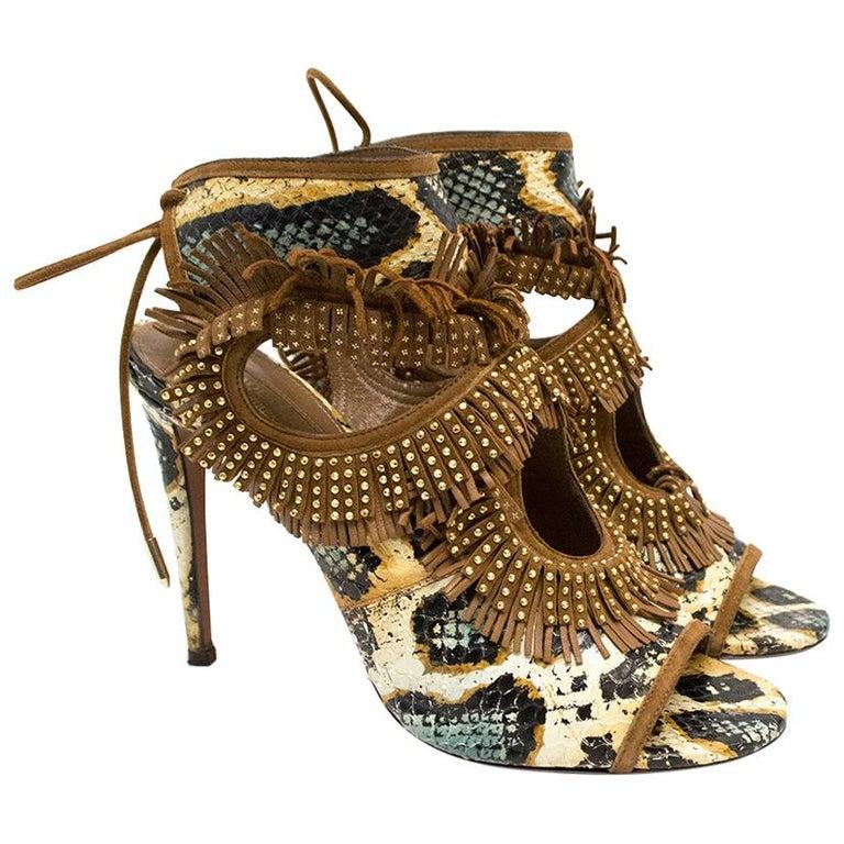Aquazzura Snake Print Fringe Peep Toe Shoes IT 39 For Sale