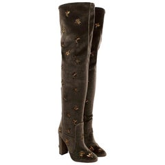Aquazzura Taupe Velvet Gold Embroidered Thigh High Boots - Size EU 39
