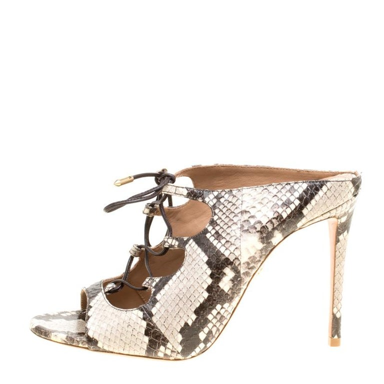 465ed0e34a6 Aquazzura Two Tone Elaphe Leather Flirt Lace Up Peep Toe Mules Size 37