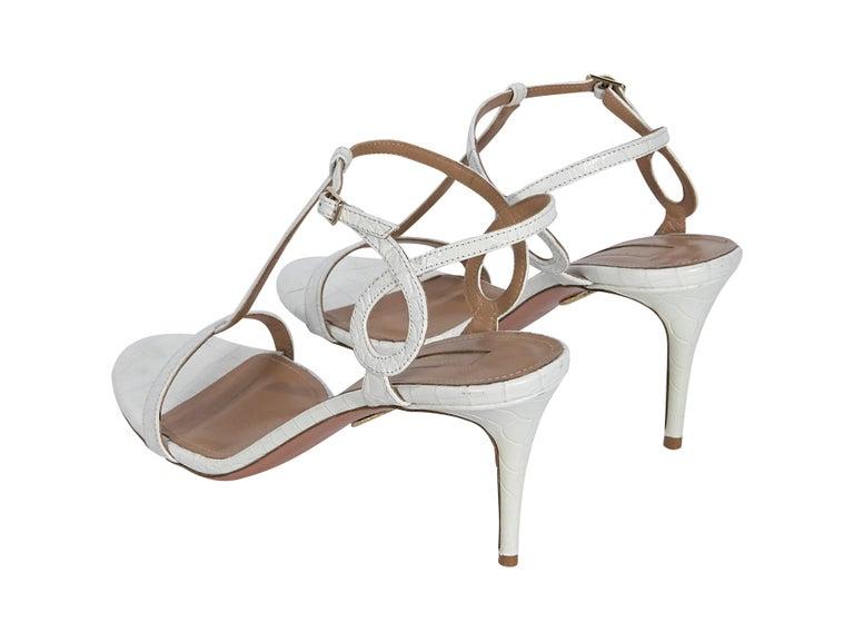 Gray Aquazzura White Croc-Embossed Sandals For Sale