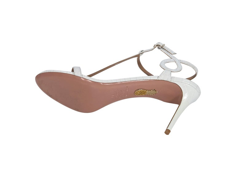 Aquazzura White Croc-Embossed Sandals In Good Condition For Sale In New York, NY