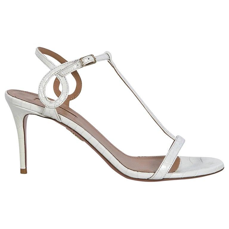 Aquazzura White Croc-Embossed Sandals For Sale