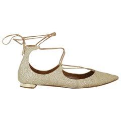 Aquazzura Woman Ballet flats Gold Leather IT 39