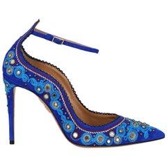Aquazzura Woman Pumps Blue Leather IT 39.5