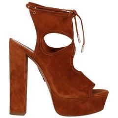 Aquazzura Woman Sandals Brown Leather IT 37.5