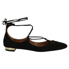 Aquazzura  Women Ballet flats  Black Leather EU 38.5