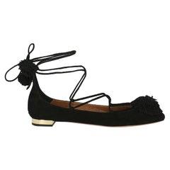 Aquazzura Women  Ballet flats Black Leather IT 38