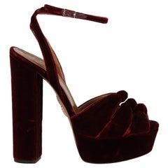 Aquazzura  Women   Sandals  Burgundy Fabric EU 38.5