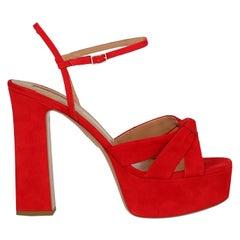 Aquazzura  Women   Sandals  Red Leather EU 40