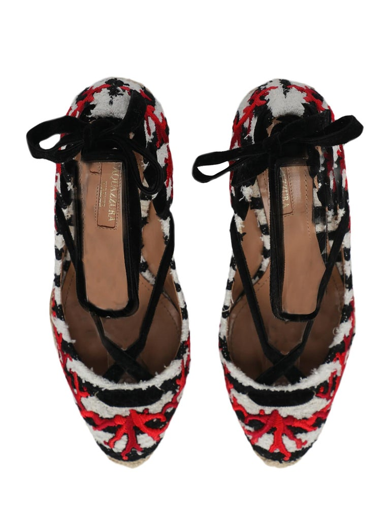 Aquazzura Women Wedges Black, Red, White Fabric EU 38.5 For Sale 1