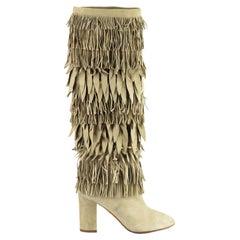 Aquazzura Woodstock Fringed Suede Knee High Boots EU 38 UK 5 US 8