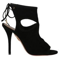 Aquazzurra Women's Sandals Black Leather Size IT 36