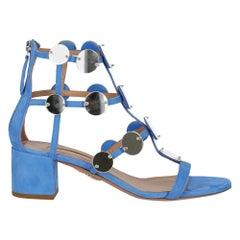 Aquazzurra Women's Sandals Blue Leather Size IT 37