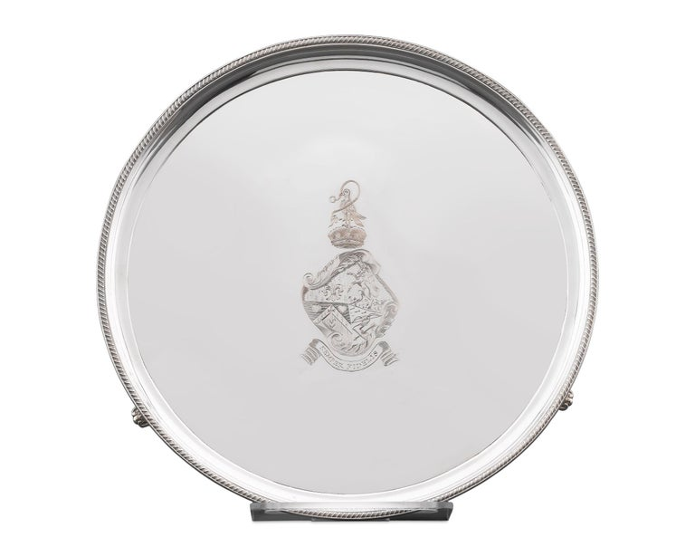 A rare and exceptional trophy, won by the thoroughbred personality at the 1970 Wood Memorial Stakes race held at the Aqueduct Racetrack. Beautifully crafted of plate silver, this exceptional platter is edged with an intricate gadrooned border and