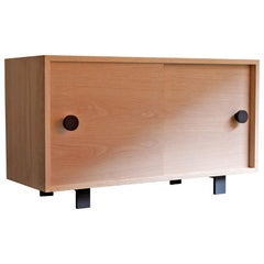 Aquinas Red Oak Sliding Door Cabinet
