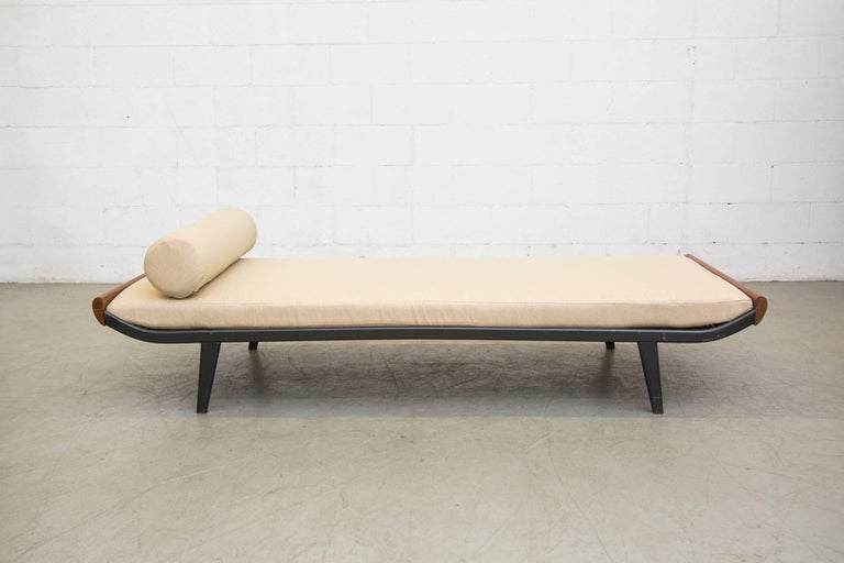 1960s wide version Cleopatra style daybed by A.R. Cordemeyer for Auping with teak ends and dark charcoal grey enameled metal frame and newly custom-made mattress and bolster in froth colored fabric. Frames and wood tone may vary, frames have age