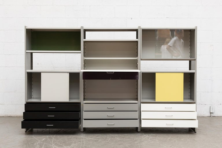 Enameled A.R. Cordemeyer Three-Section Cabinet for Gispen For Sale