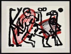 """Adler und Tänzer 2"" by A.R. PENCK - Abstract, Contemporary, Gouache on paper"