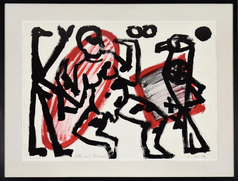 """A.R. Penck (Ralf Winkler) Abstract Painting - """"Adler und Tänzer 2"""" by A.R. PENCK - Abstract, Contemporary, Gouache on paper"""