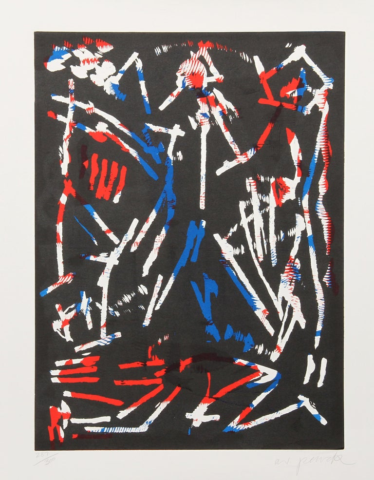 A.R. Penck (Ralf Winkler) Abstract Print - Mul, Bul Dang & Sentimentality, Abstract Woodblock by A.R. Penck