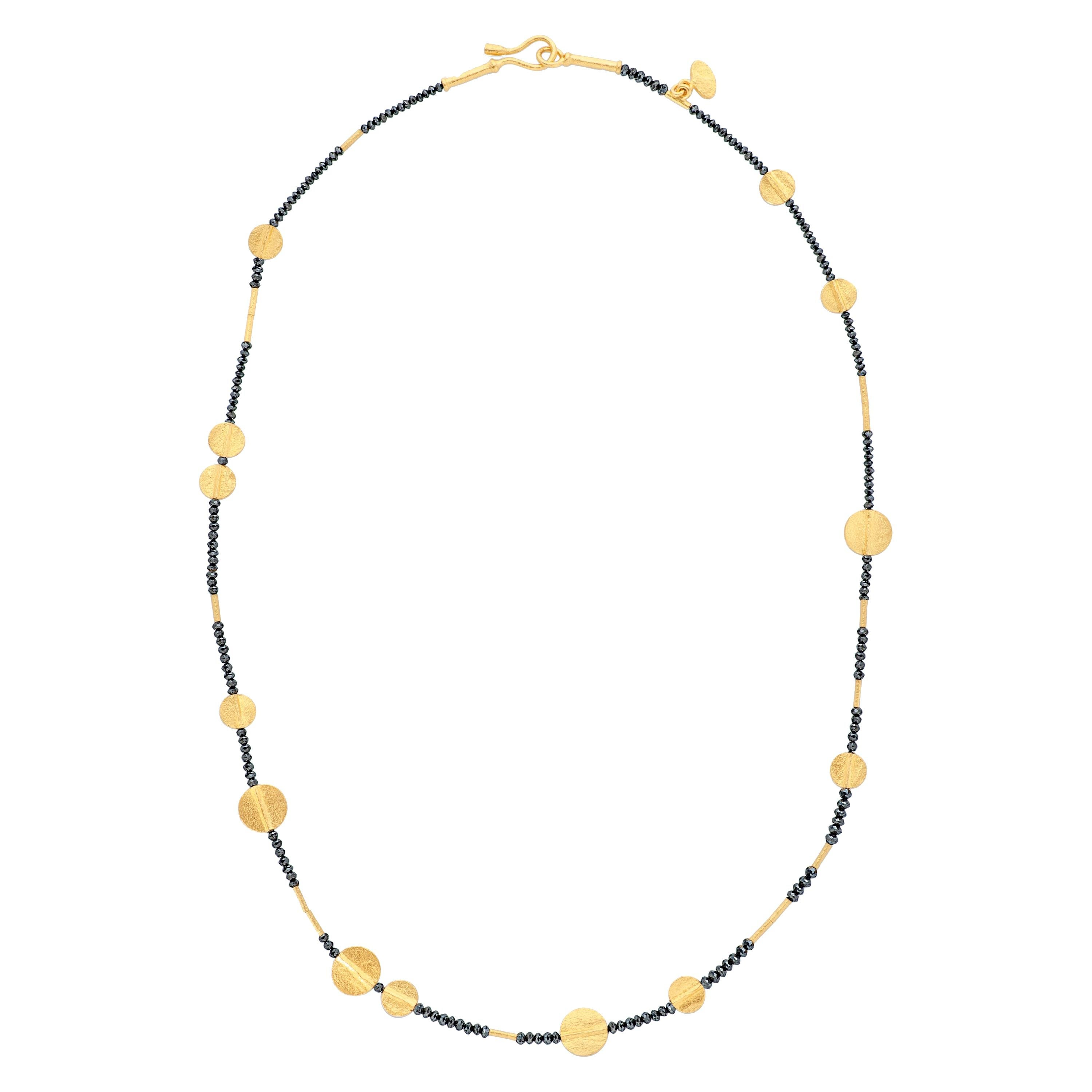 Ara 24K Collection Black Diamond Bead and 24k Yellow Gold Disc Necklace