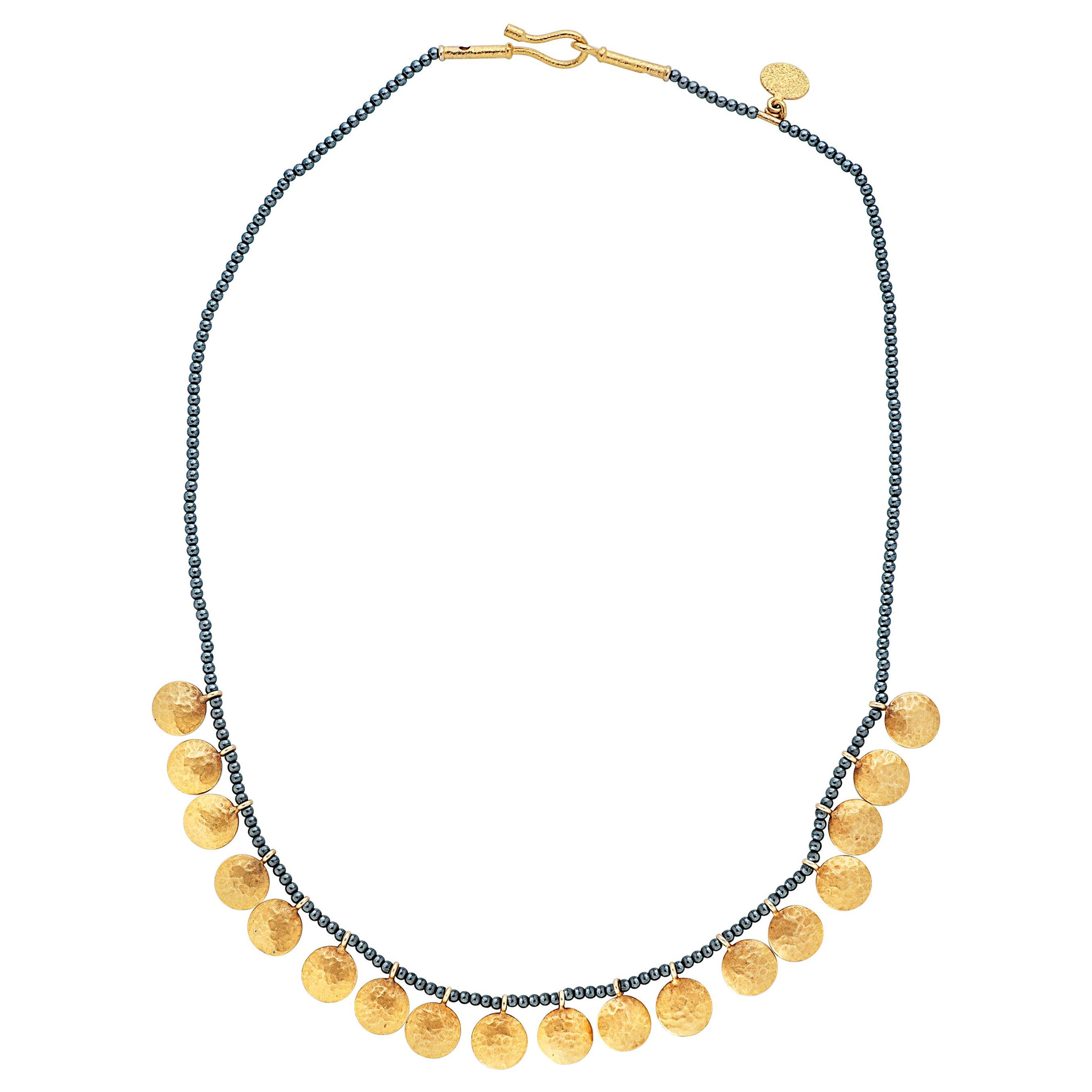 Ara 24k Collection Hematite Bead and 24k Yellow Gold Disc Necklace