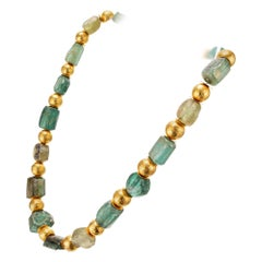 ARA Archaeological Ancient Roman Glass Bead Yellow Gold Necklace