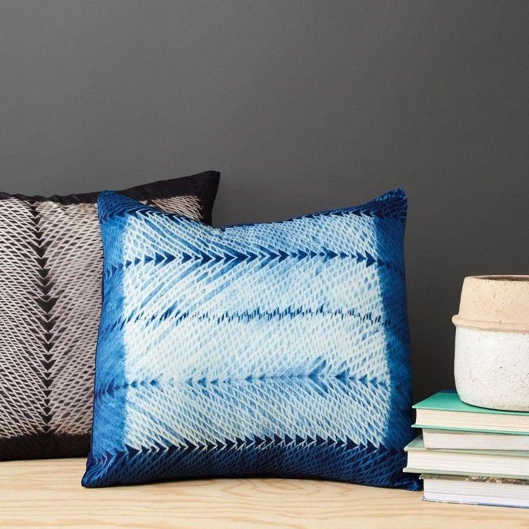 Dyed ARA Black Shibori  Silk Pillow For Sale