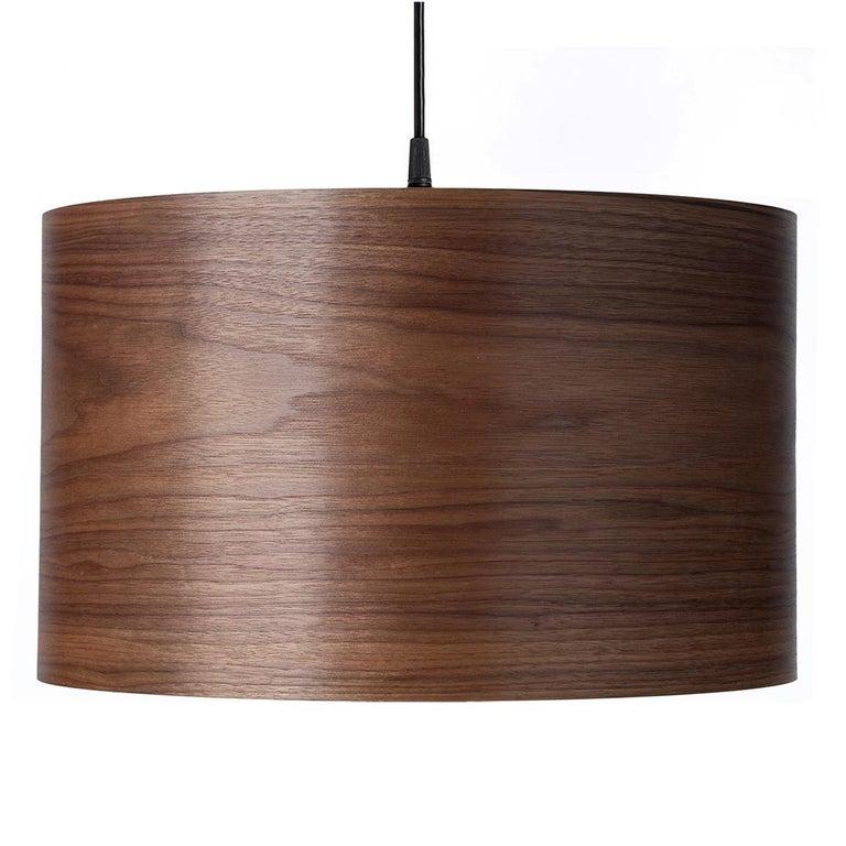 ARA Walnut Wood Drum Chandelier Pendant  For Sale
