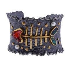 Ara Gold Oxidized Silver Opal Pearl Fish Bone Cuff Bracelet