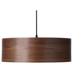 Mid-Century Modern walnut wood drum pendant