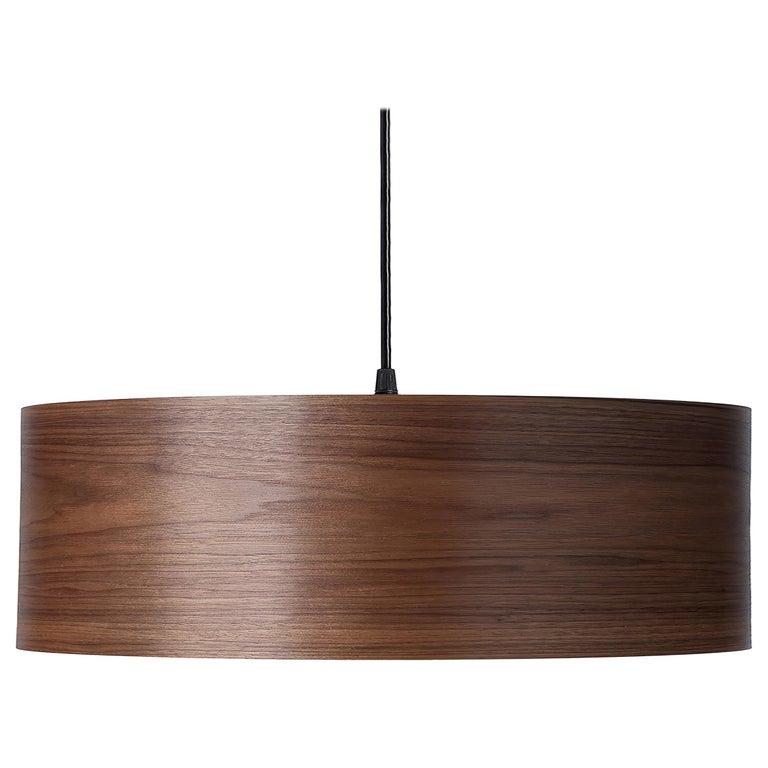 ARA Grande Custom Walnut Wood Drum Chandelier Pendant For Sale