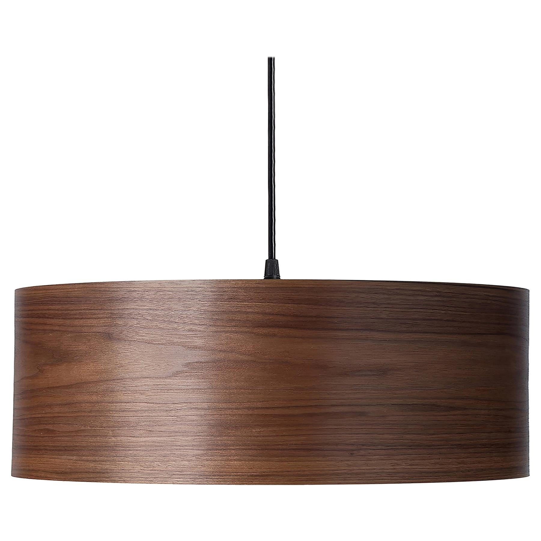 ARA Grande Walnut Wood Drum Chandelier Pendant