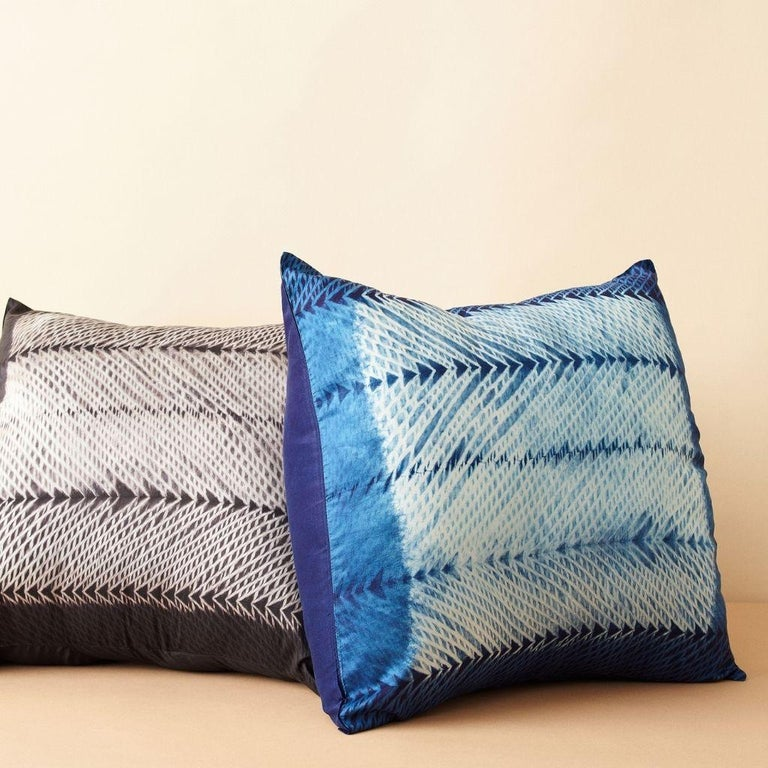 Custom design by Studio Variously, ARA Indigo Pillow is handmade by master artisans in India. A sustainable design brand based out of Michigan, Studio Variously exclusively collaborates with artisan communities to restore and revive ancient