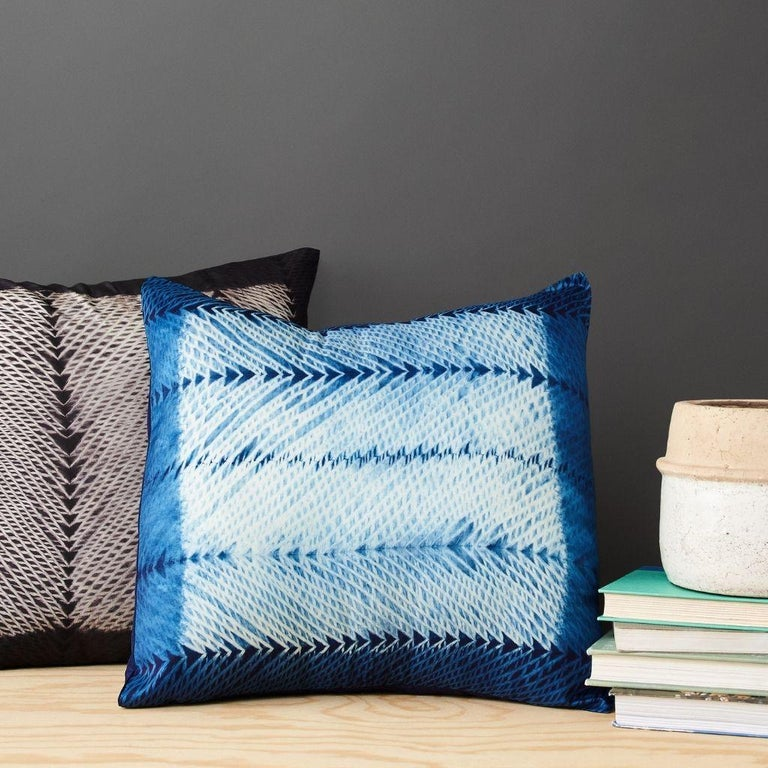 Modern ARA Indigo Shibori Silk Pillow For Sale