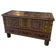Arab Wooden and Brass Studded Coffee Cocktail Table Trunk Chest Zanzibar